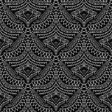 Картина этнического стиля шнурка безшовная Черно-белое абстрактное оранжевое Стоковые Изображения RF