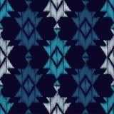 Картина этнического boho голубая безшовная цветастая ткань вышивки Ретро мотив иллюстрация вектора