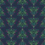 Картина этнического boho кануна xmas зеленая и голубая геометрическая безшовная вектора иллюстрация вектора