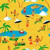 Картина людей пляжа лета безшовная Тропическая предпосылка с b Стоковое Изображение RF