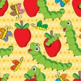 Картина Яблока червя безшовная Стоковое Изображение RF