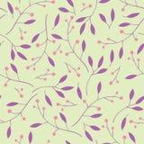 Картина ягод, листьев и ветвей безшовная Стоковое фото RF
