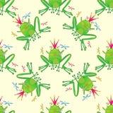 Картина лягушки нарисованная рукой безшовная Стоковое Изображение