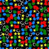Картина яичек, сердец, звезд и листьев безшовная произведенная Стоковое Изображение