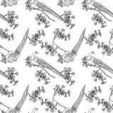 Картина японского traditonal безшовная с птицами бесплатная иллюстрация