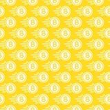 Картина Bitcoin безшовная состоя из летающ цвет белизны денег Стоковое Фото