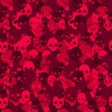 Картина camo черепа безшовная Красное камуфлирование иллюстрация штока