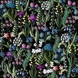 Картина Ditsy безшовная с полевыми цветками для дизайна ткани также вектор иллюстрации притяжки corel иллюстрация вектора