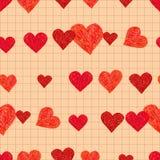 Картина Doodle безшовная с сердцами Стоковое Изображение RF