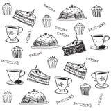 Картина doodle вектора безшовная с десертами Стоковое фото RF