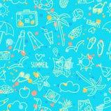 Картина doodle летних каникулов безшовная с выплеском Стоковые Изображения RF