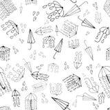 Картина doodle зонтика безшовная, собрание погоды Vector беда Стоковое Фото