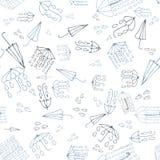 Картина doodle зонтика безшовная, собрание погоды Vector беда Стоковые Фотографии RF
