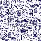 Картина doodle одежды моды битника безшовная иллюстрация штока