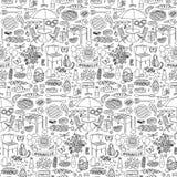 Картина doodle партии барбекю безшовная Стоковое фото RF