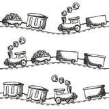 Картина doodle поезда безшовная Стоковое Изображение RF