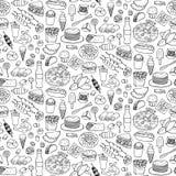 Картина Doodle фаст-фуда безшовная Стоковая Фотография RF