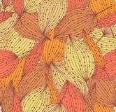 Картина Doodle флористическая безшовная. Красивая бесконечная линейная предпосылка с листьями. Винтажные листья Стоковые Фото