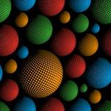 Картина eps10 элементов дизайна конспекта сфер полутонового изображения темного цвета безшовная Стоковые Изображения