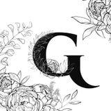 Картина g письма алфавита цветка иллюстрация вектора