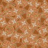 картина gingerbread печений безшовная иллюстрация вектора