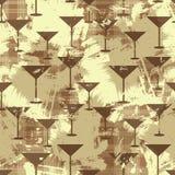 Картина Grunge безшовная с силуэтами стекла Мартини вектор Стоковое Изображение RF