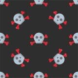Картина Grunge безшовная с черепами vector искусства ужаса косточки иллюстрации скелет человеческого мертвый Стоковое Изображение