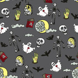 картина halloween безшовная Смерть, кладбище бесплатная иллюстрация
