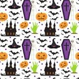 картина halloween безшовная Страшная повторяя текстура с гробом, замком, тыквой Бесконечная предпосылка вектор Стоковые Изображения