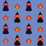Картина Halloween с ведьмами и тыквами Стоковые Изображения RF