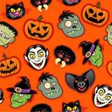 картина halloween характеров безшовная Стоковые Изображения