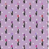 Картина Lipstic на предпосылке точек польки Стоковая Фотография