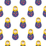Картина matryoshka куклы вложенности безшовная Стоковое фото RF