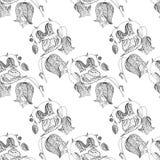 Картина monochrome doodle улитки колокольчика безшовная Иллюстрация вектора запаса элементов дизайна иллюстрация вектора