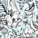 Картина monohrome вектора тропическая флористическая безшовная Стоковые Изображения