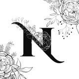 Картина n письма алфавита цветка иллюстрация вектора
