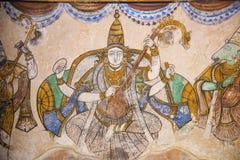 Картина Nayaka Saraswati на внутренней стене северного mandappa монастыря Висок Brihadishvara, Thanjavur, Tamil Nadu стоковые фотографии rf