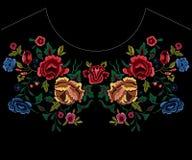 Картина neckline вышивки ботаническая с красными и голубыми розами Стоковые Изображения