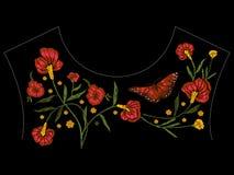 Картина neckline вышивки родная с маками и бабочкой Стоковые Фото
