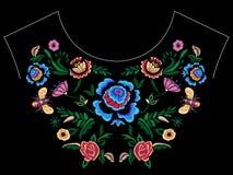 Картина neckline вышивки фольклорная с фантазией упрощает цветки Стоковые Фото