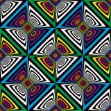 Картина op искусства абстрактного вектора безшовная Красочное искусство шипучки, графический орнамент иллюзион оптически иллюстрация штока