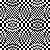 Картина op искусства абстрактного вектора безшовная Monochrome искусство шипучки, графический орнамент иллюзион оптически иллюстрация вектора