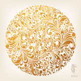 картина ornamental золота круга Стоковое Изображение
