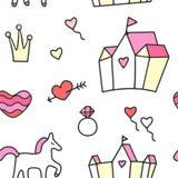 Картина Princess безшовная Стоковые Изображения