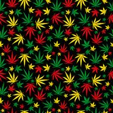 Картина Rasta Орнамент цвета регги Предпосылка марихуаны безшовная Заполнение шаблона пеньки конопли Rastafarian r бесплатная иллюстрация