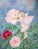 Картина Rose fairy с маленькой девочкой и цветком. Стоковое Изображение