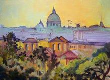 Картина Sant Pietro базилики панорамная, Рим Стоковое Изображение