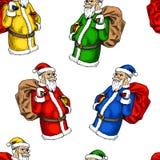 картина santa claus безшовный С Рождеством Христовым или xmas, Новый Год Украшение зимнего отдыха выгравированная рука нарисованн Стоковая Фотография