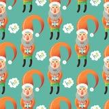 картина santa claus рождества безшовный Иллюстрация вектора
