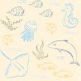 Картина Sealife нарисованная рукой безшовная иллюстрация вектора